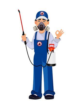 Trabajador de control de plagas en ropa de trabajo protectora muestra signo de ok. Personaje de dibujos animados guapo. Concepto de servicios de control de plagas. Ilustración vectorial