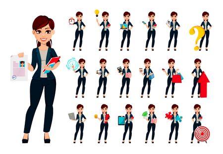 Mujer de negocios hermosa joven, conjunto de diecinueve poses. Empresaria de personaje de dibujos animados femenino lindo. Ilustración vectorial