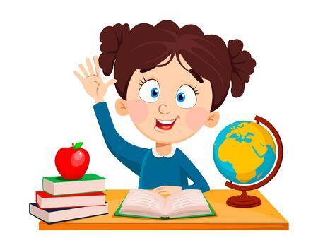 De vuelta a la escuela. Linda colegiala sentada en el escritorio. Personaje de dibujos animados de niño divertido. Ilustración de vector.