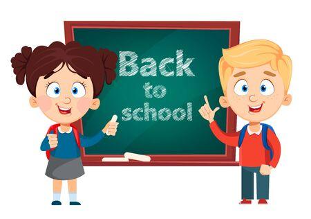Back to school. Cute boy and girl standing near blackboard. Funny kids cartoon characters. Vector illustration.