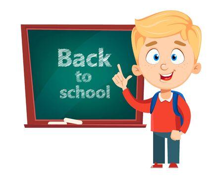 Zurück zur Schule. Netter Schuljunge, der nahe Tafel steht. Lustige Kinderzeichentrickfigur. Vektor-Illustration.