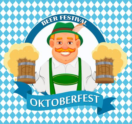 Oktoberfest, beer festival. Cheerful man in traditional Bavarian clothes holds two pints of beer. Vector illustration on colorful background