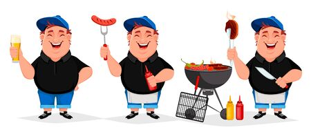 BBQ party. Young cheerful man cooks grilled food, set of three poses. Barbecue party. Vector illustration on white background Illusztráció