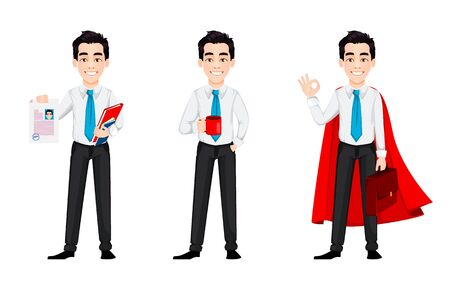 Young business man, set of three poses. Handsome businessman cartoon character holds resume, holds a cup of coffee and stands in superhero cloak. Vector illustration Çizim
