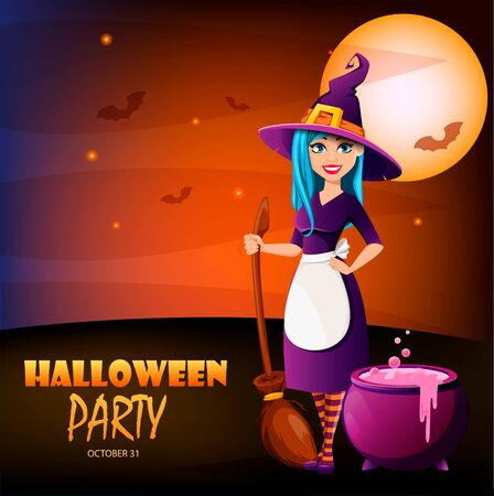 Halloween party invitation. Beautiful lady witch with broomstick stands near cauldron. Vector illustration