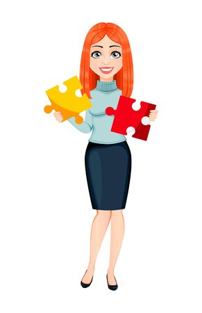 Young beautiful redhead business woman holds two pieces of puzzle. Cute businesswoman cartoon character. Vector illustration on white background