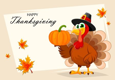 Happy Thanksgiving, greeting card, poster or flyer for holiday. Thanksgiving turkey holding pumpkin on one wing. Vector illustration with maple leaves on background