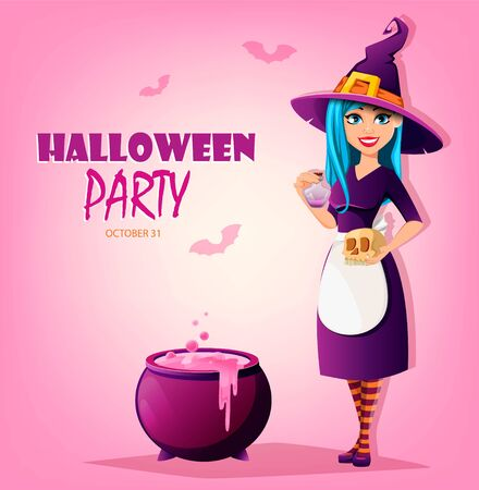 Halloween party. Beautiful lady witch holding skull and potion. Cute lady cartoon character. Vector illustration on pink background
