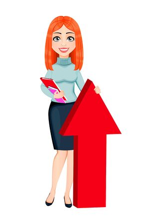 Young beautiful redhead business woman stand near big red arrow. Cute businesswoman cartoon character. Vector illustration on white background Ilustração
