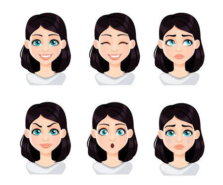 Expresiones faciales de mujer con cabello oscuro. Conjunto de diferentes emociones femeninas. Hermoso personaje de dibujos animados. Ilustración de vector aislado sobre fondo blanco.