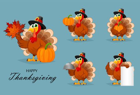 Happy Thanksgiving, greeting card, poster or flyer for holiday. Thanksgiving turkey, set of five poses. Vector illustration on blue background