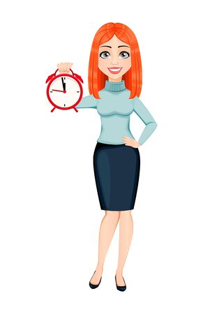 Young beautiful redhead business woman holding alarm clock. Cute businesswoman cartoon character. Vector illustration on white background 向量圖像