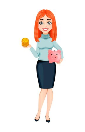 Young beautiful redhead business woman holding bitcoins and piggy bank. Cute businesswoman cartoon character. Vector illustration on white background
