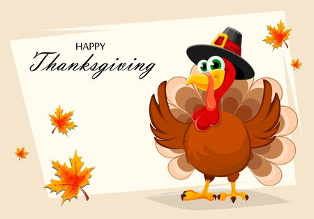 Happy Thanksgiving, greeting card, poster or flyer for holiday. Thanksgiving turkey cartoon character. Vector illustration with maple leaves on background Illustration