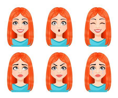 Gesichtsausdrücke der schönen Rothaarigefrau. Verschiedene weibliche Emotionen eingestellt. Nette Dame-Cartoon-Figur. Vektorillustration lokalisiert auf weißem Hintergrund.