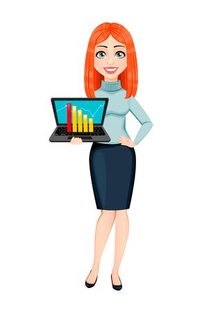 Young beautiful redhead business woman holding laptop. Cute businesswoman cartoon character. Vector illustration on white background