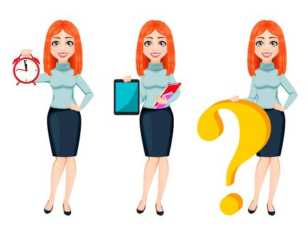 Young beautiful redhead business woman, set of three poses. Cute businesswoman cartoon character holds alarm clock, holds tablet and stands near big question mark. Vector illustration