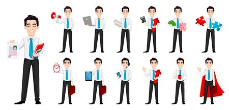 Young business man, set of thirteen poses. Handsome businessman cartoon character. Vector illustration on white background Ilustrace