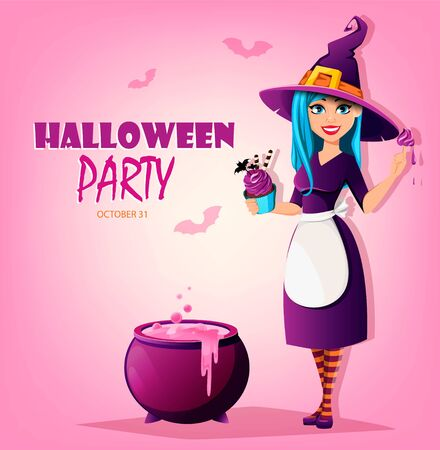 Halloween party. Beautiful lady witch holding cake with cream. Cute lady cartoon character. Vector illustration on pink background