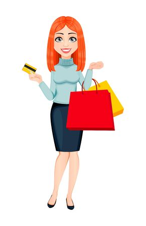 Young beautiful redhead business woman holding credit card and shopping bags. Cute businesswoman cartoon character. Vector illustration on white background Stock fotó - 129755205