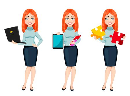 Young beautiful redhead business woman, set of three poses. Cute businesswoman cartoon character holds laptop, holds tablet and holds puzzle. Vector illustration Ilustração