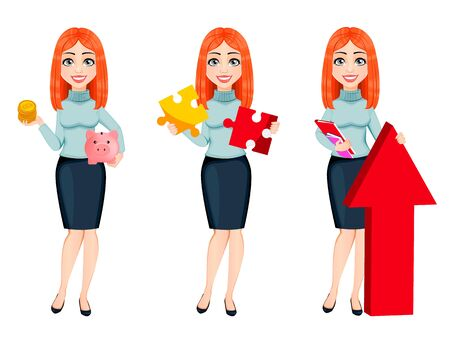 Young beautiful redhead business woman, set of three poses. Cute businesswoman cartoon character. Vector illustration on white background
