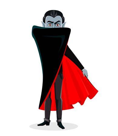 Feliz Halloween. Personaje de dibujos animados de vampiro con capa roja oculta su rostro detrás de la capa. Ilustración vectorial sobre fondo blanco