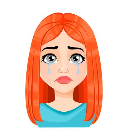 Face expression of beautiful redhead woman, crying. Female emotion. Cute cartoon character. Vector illustration isolated on white background.