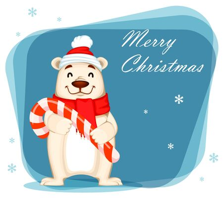 Christmas greeting card with Polar bear in Christmas hat and scarf. Funny white bear cartoon character holding big candy cane. Vector illustration