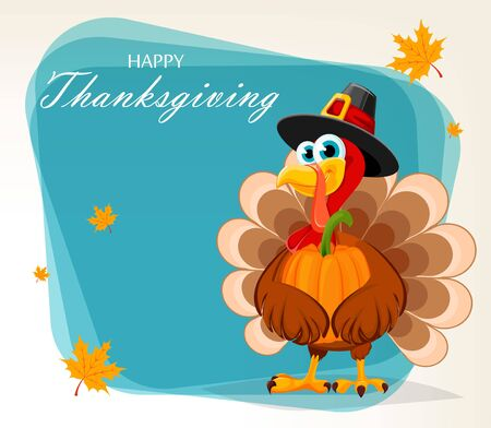Happy Thanksgiving, greeting card, poster or flyer for holiday. Thanksgiving turkey holding pumpkin. Vector illustration