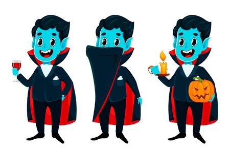 Happy Halloween. Funny cheerful vampire cartoon character, set of three poses. Vector illustration on white background