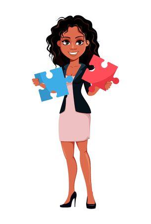 Belle jeune femme d'affaires afro-américaine dans des vêtements à la mode détient deux pièces de puzzle. Personnage de dessin animé mignon de femme d'affaires. Illustration vectorielle.