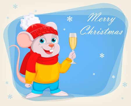 Merry Christmas and Happy New Year. Funny cartoon character mouse holds a glass of champagne. Vector illustration on abstract blue background.