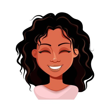 Emotion of beautiful young African American woman, laughing. Face expression of cute lady. Vector illustration on white background