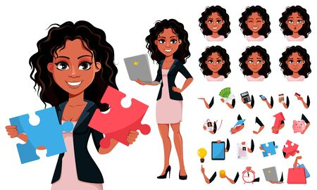Beautiful young African American business woman in fashionable clothes, pack of body parts, emotions and things. Cute businesswoman cartoon character. Vector illustration.