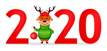 Happy New Year greeting card with number 2020 and funny Reindeer on place of zero. Vector illustration on white background