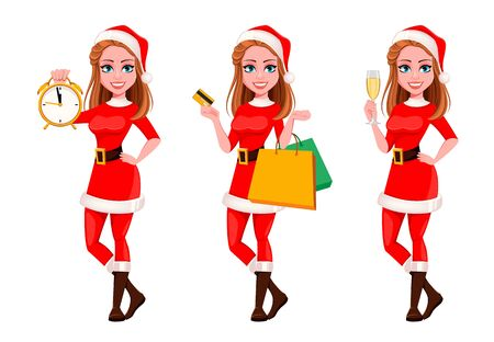 Merry Christmas. Beautiful woman in Santa Claus costume. Cute cartoon character. Vector illustration on white background 向量圖像