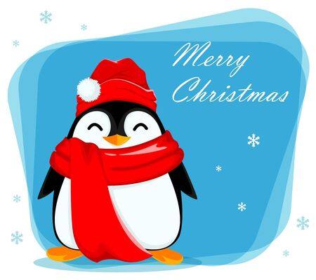 Merry Christmas greeting card with cute little penguin. Funny penguin cartoon character. Vector illustration. Ilustração