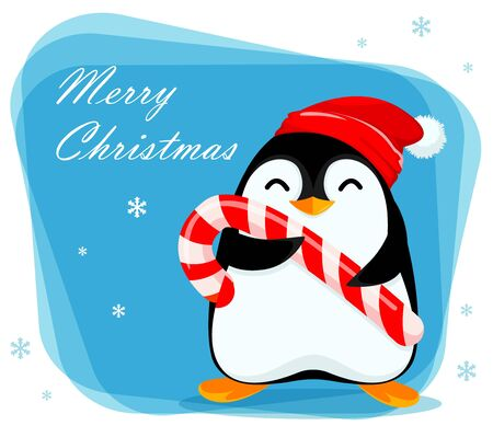 Merry Christmas greeting card with cute little penguin holds big candy cane. Funny penguin cartoon character. Vector illustration.