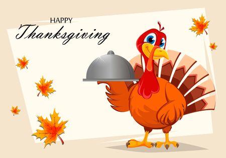 Happy Thanksgiving. Thanksgiving turkey holding domed tray. Vector illustration with maple leaves on background