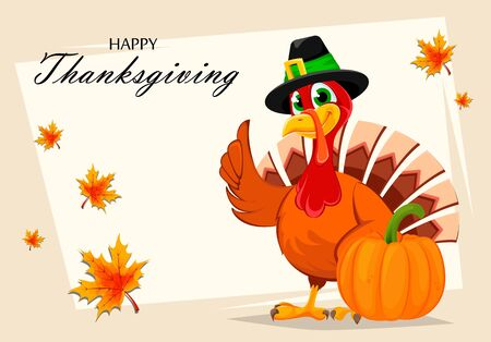 Happy Thanksgiving. Thanksgiving turkey standing near pumpkin. Vector illustration with maple leaves on background