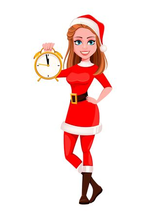 Merry Christmas. Beautiful woman in Santa Claus costume holding alarm clock. Cute cartoon character. Vector illustration on white background