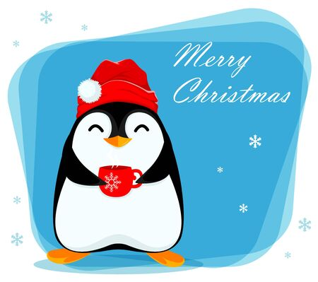 Merry Christmas greeting card with cute little penguin holding a cup of hot tea. Funny penguin cartoon character. Vector illustration.