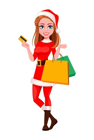 Merry Christmas. Beautiful woman in Santa Claus costume holding credit card and shopping bags. Cute cartoon character. Vector illustration on white background