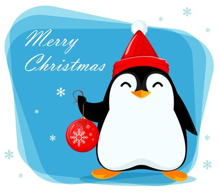 Merry Christmas greeting card with cute little penguin holds Christmas tree ball. Funny penguin cartoon character. Vector illustration.