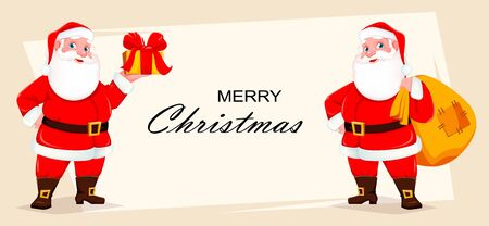 Merry Christmas greeting card with cheerful Santa Claus. Cute Santa holding big sack with presents and holding gift box. Vector illustration.