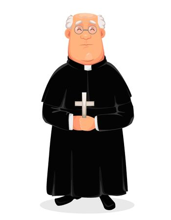 Priest cartoon character. Holy Father standing with cross in hands. Vector illustration on white background.