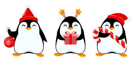 Pequeño pingüino lindo, conjunto de tres poses. Personaje de dibujos animados divertido tiene bola de Navidad, caja de regalo y bastón de caramelo grande. Ilustración vectorial sobre fondo blanco. Ilustración de vector