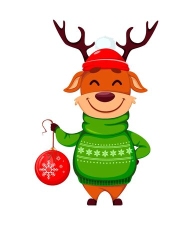 Merry Christmas. Funny reindeer with Christmas tree ball. Cute cartoon character. Vector illustration on white background