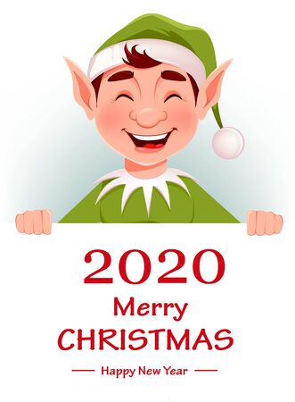 Merry Christmas greeting card with funny Elf. Santa Claus helper Elf standing behind white placard with greetings. Cartoon character. Vector illustration 向量圖像